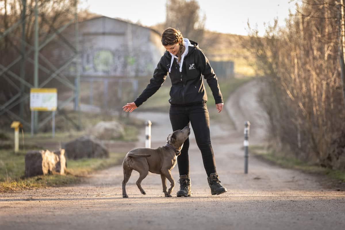 Hundetrainerin Nicole Hertel mit Hund Paula